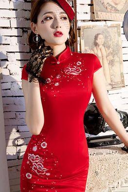 Dark Blue / Red Mandarin Collar Cap Sleeves Embroidery Cheongsam