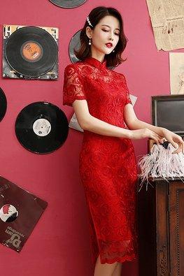 Dark Blue / Red Mandarin Collar Illusion Floral Lace Cheongsam