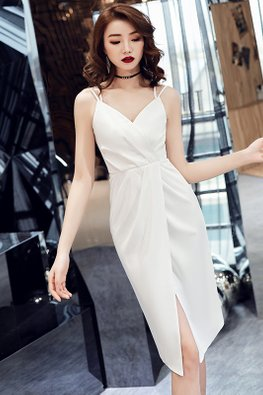 White Double-Strap Cross Back Wrap Dress