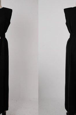 Brown / Black Round Neck Sleeveless High Slit Belted Dress