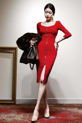 Red Round Wide Neck Front & Back Zip-Up Sheath Dress