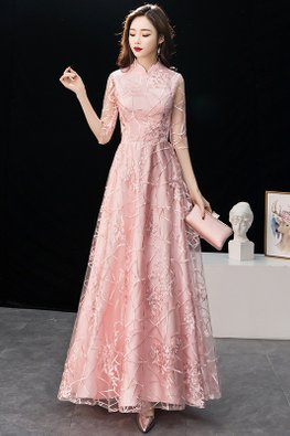 Pink Mandarin Collar Illusion Elbow Sleeves Lace Embroidery Gown