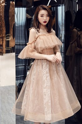 Brown Ribbon Strap Cold-Shoulder Tulle Dress