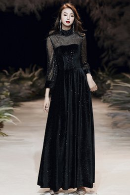 Black High Neck Illusion Sleeves Glitter Gown