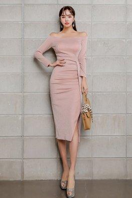 Pink Off-Shoulder Long Sleeves Side-Open Zip-Up Dress