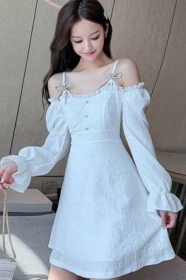 White / Black Cold-Shoulder Long Sleeves A-Line Dress
