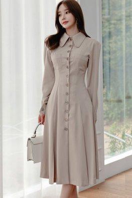 Light Khaki Wide Collar Long Sleeves Button Down Dress