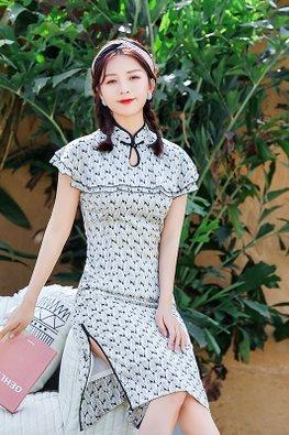 Green / Black Mandarin Collar Keyhole Overlay Sleeves Feather Prints Cheongsam