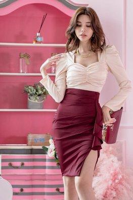 2-Pc Almond Bustier Top + Wine Red Side Slit Dress