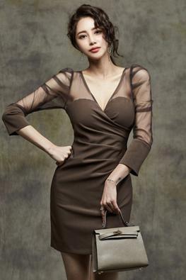 Coffee / Black V-Sweetheart Illusion Sleeves Mini Dress