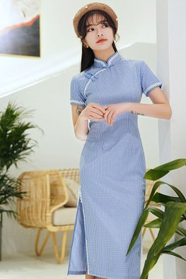 Assorted Colours Lace Trimmings Short Sleeves Side Slit Cheongsam