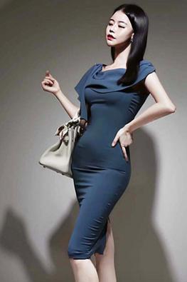 Blue Wide Neck Overlay Front Detail Dress