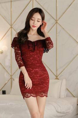 Red Illusion Neckline Off-Shoulder Lace Mini Dress