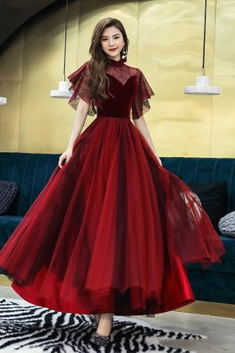 Wine Red Illusion High Neck Sweetheart Wide Sleeves Mesh Gown