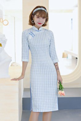 Blue Lace Trimmings 3/4 Sleeves Side Slit Checkered Cheongsam