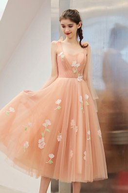 Warm Pink Sweetheart Tie-Shoulder Ribbon Floral Embroidery Dress