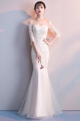 Champagne / White Illusion Neckline Elbow Sleeves Tulle Gown