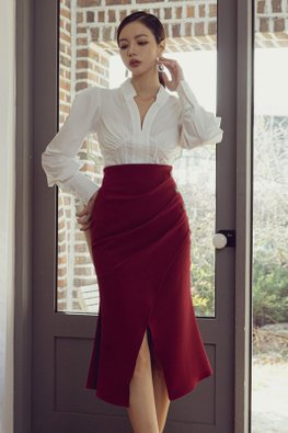 2-Pc White Collar V-Neck Top + Wine Red Side Pearls Mermaid Skirt