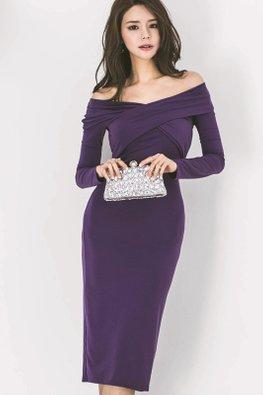 Purple Off-Shoulder Overlay Wrap Front Sheath Dress