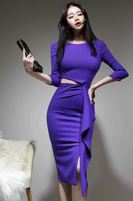 Royal Purple Round Neck 3/4 Sleeves Peekaboo Slit Dress