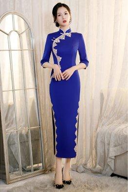 Blue / Red Mandarin Collar Lace Trimmings Side Slit Cheongsam