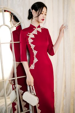 Blue / Red Mandarin Collar Lace Trimmings Side Slit Cheongsam
