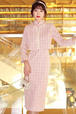 2-Pc Light Pink / Blue Cap Sleeves Tweed Cheongsam & Outerwear