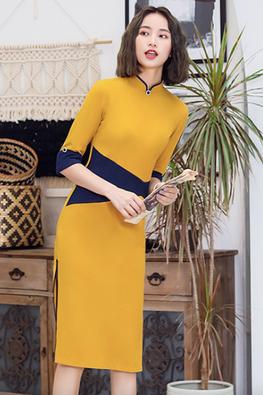 2-Tone Mustard Yellow & Blue Colour Block Side Slit Cheongsam