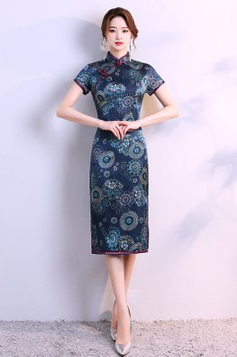 Dark Blue Red Trimmings Short Sleeves Floral Patterned Cheongsam