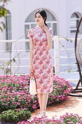 Pink Mandarin Collar Double Trimmings Floral Cheongsam