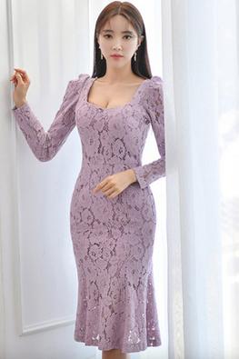 Light Purple Squarish Neckline Long Sleeves Floral Lace Mermaid Dress