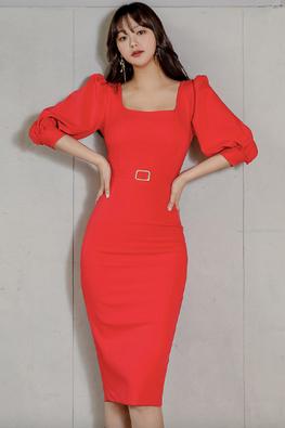 Bright Red Square Neckline 3/4 Sleeves Back Slit Dress