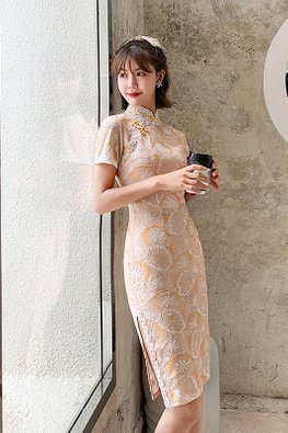Light Orange Lace Trimmings Textured Cheongsam