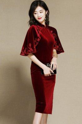 Wine Red Mandarin Collar Wide Sleeves Cape Velvet Cheongsam