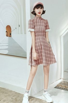 Pink / Green Lace-Lined Sleeves Checkered A-line Cheongsam