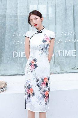 White Black Trimmings Cap Sleeves Floral Painting Cheongsam