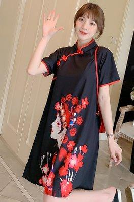 Black Red Trimmings Japanese Bride Print Loose-Fit Cheongsam