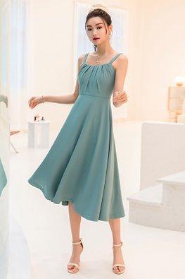 Aqua Green Strap Pleated Front Midi Swing Dress