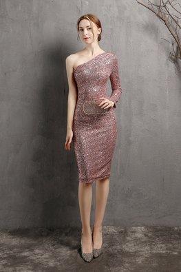 Pink / Wine Red One-Shoulder Toga Sequins Dress