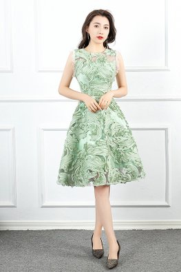 Light Green Round Illusion Neckline 3D Patterned Dress