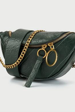 Assorted Colours Semi Circle U-Zip Chain Versatile Bag