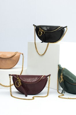 Assorted Colours Semi Circle U-Zip Chain Versatile Bag