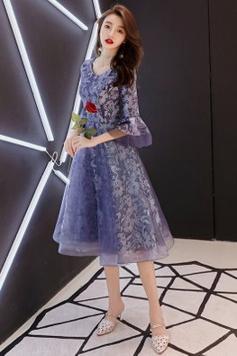 Blue Round Neck Bell Sleeves Floral Lace Tulle Gown