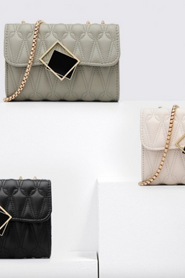 Assorted Colours Twisted Rectangular Buckle Chain Bag