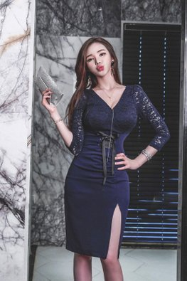 Dark Blue V-Neckline 3/4 Lace Sleeves Corset Tie-Front Dress
