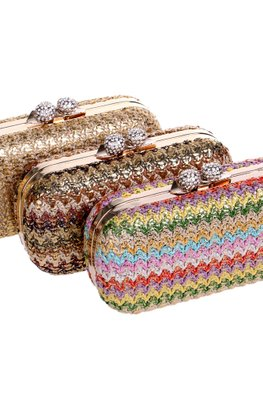 Assorted Colours Stitch Pattern Clutch Bag