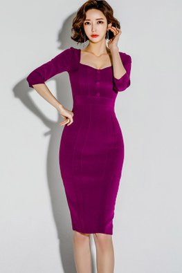 Reddish Purple Square-V-Neckline Back Slit Sheath Dress