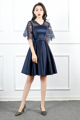 Navy Blue Illusion Neckline Wide Lace Sleeves Pleated Gown
