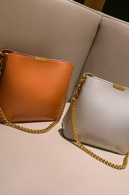 Assorted Colours Squarish Chain Bag + Inner Pouch