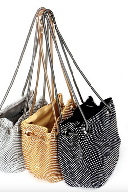 Assorted Colours Diamond-Studded Bucket Bag